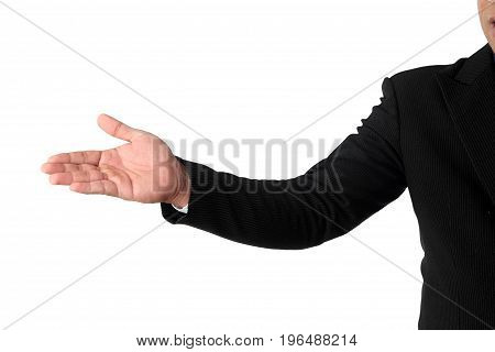 Businessman's hand inviting isolated on white background clipping path.