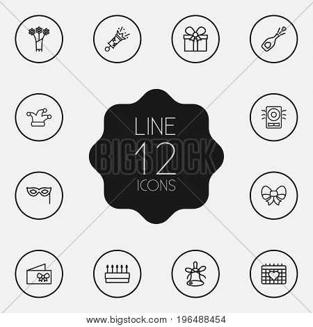 Collection Of Pastry, Amplifier, Flower And Other Elements. Set Of 12 Cocktail Outline Icons Set.