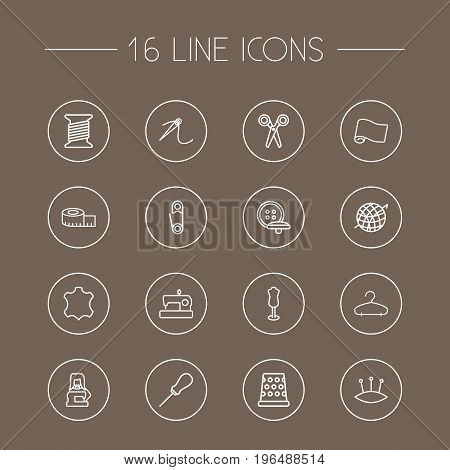 Set Of 16 Tailor Outline Icons Set. Collection Of Tremble, Dummy, Safety Pin And Other Elements.