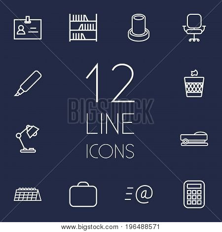 Collection Of Staple, Pencil, Calendar And Other Elements. Set Of 12 Workspace Outline Icons Set.