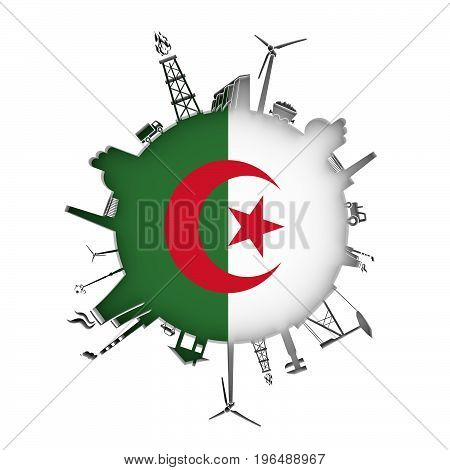 Circle with industry relative silhouettes. Objects located around the circle. Industrial design background. Flag of Algeria in the center. 3D rendering.
