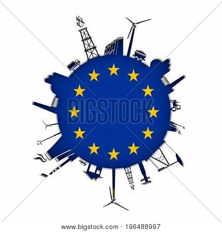 Circle with industry relative silhouettes. Objects located around the circle. Industrial design background. Flag of European Union in the center. 3D rendering.