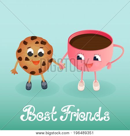 A funny chocolate chip cookie with a coffee cup. Greeting card to the Day of Friendship. Best friends hand lettering