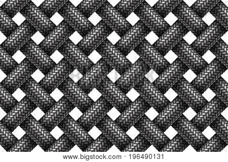 Vector seamless decorative pattern of woven fabric braided cords.