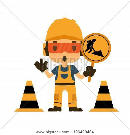 Engineer holding construction road sign, Safety and health, flat style, vector illustrator.