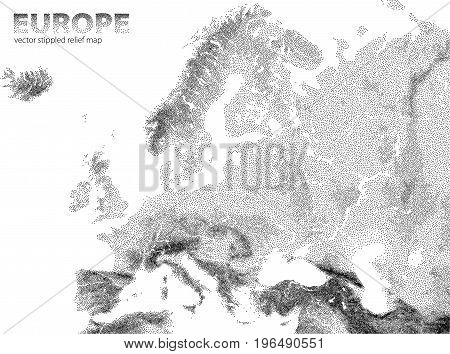 Vector stippled Europe relief stylized map illustration