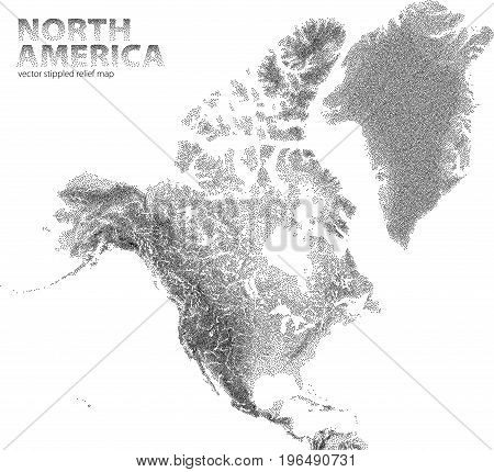 Vector stippled relief map of North America