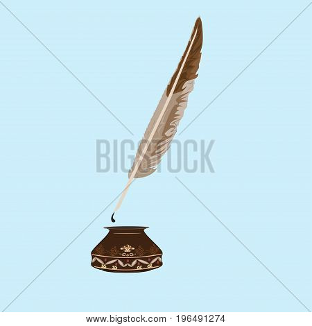 Feather and ink bottle vector illustration in flat style