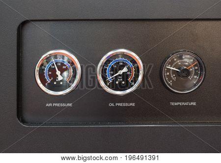 Pressure gage oil pressure gage and thermometer in air compressure pump