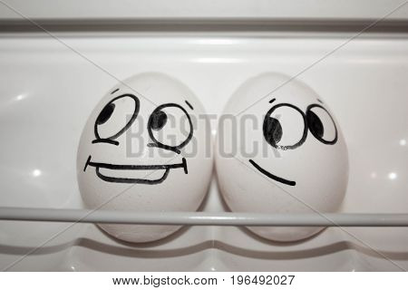 The Concept Of Love Relationships. Funny Eggs