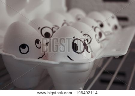 The Concept Of Flirting. A Funny Egg. Photo