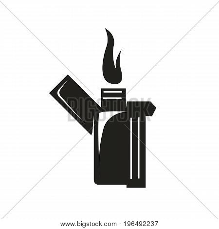 black opened lighter with a flame isolated on white background