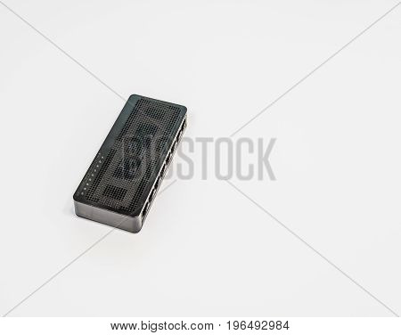 Top view of black wireless router used for home computer network