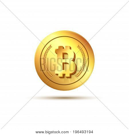 Golden coin bitcoin sign. Finance currency electronic money. Exchange business bitcoin icon.