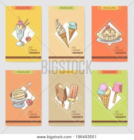 Ice Cream and Desserts Hand Drawn Cards Brochure Menu with Fruits and Chocolate, Cones and Waffles. Vector illustration