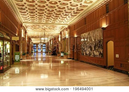 Los Angeles, United States - October 27, 2013: Photo of Millennium Biltmore Hotels ,this Hotel is Pershing Square in Los Angeles.