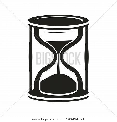 black hourglass icon isolated on white background.