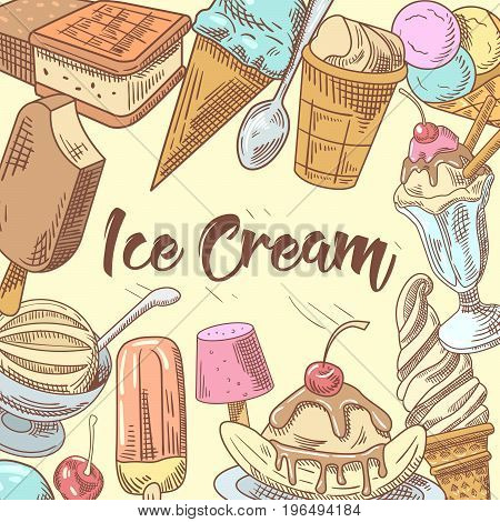 Ice Cream Hand Drawn Doodle with Fruits and Chocolate. Cones and Waffles. Vector illustration