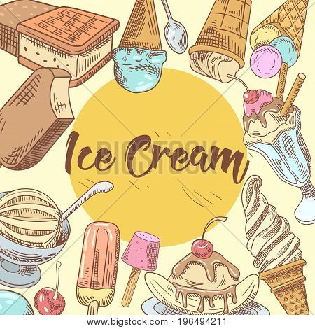 Ice Cream Hand Drawn Menu Design with Cold Desserts, Fruits and Chocolate, Cones and Waffles. Vector illustration