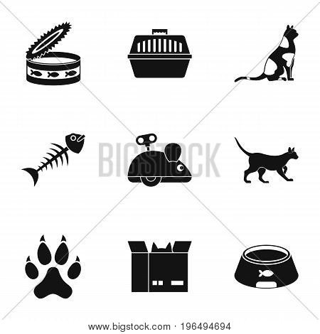 Cat toys icons set. Simple set of 9 cat toys vector icons for web isolated on white background