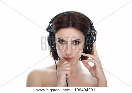 Beauty Portrait Of Adult Adorable Fresh Looking Brunette Woman With Gorgeous Makeup Dj Headphones Bo