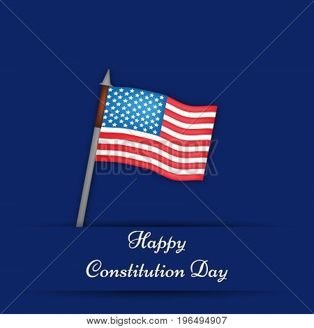 illustration of USA Flag with Happy Constitution Day background