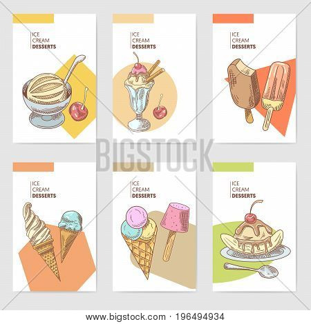Ice Cream and Cold Desserts Hand Drawn Cards Brochure Menu with Fruits and Chocolate, Cones and Waffles. Vector illustration