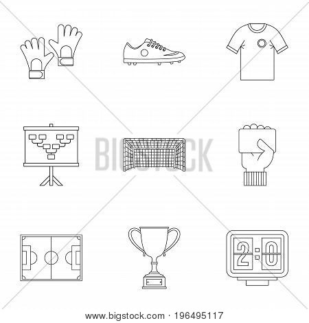 Football icons set. Outline set of 9 football vector icons for web isolated on white background