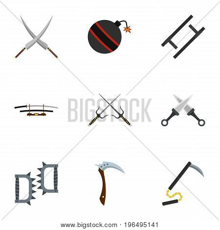 Old weapons icons set. Flat set of 9 old weapons vector icons for web isolated on white background