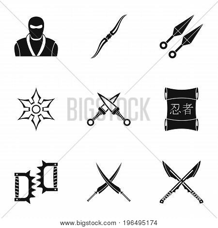 Old weapons icons set. Simple set of 9 old weapons vector icons for web isolated on white background