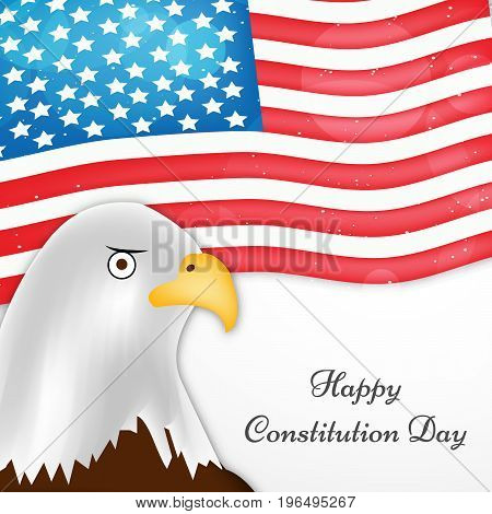 illustration of Eagle on USA Flag background with Happy Constitution Day text on the occasion of USA Constitution Day