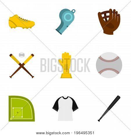 Baseball icons set. Flat set of 9 baseball vector icons for web isolated on white background