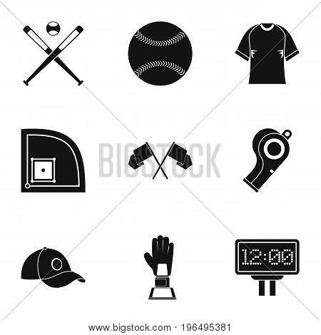 Baseball icons set. Simple set of 9 baseball vector icons for web isolated on white background