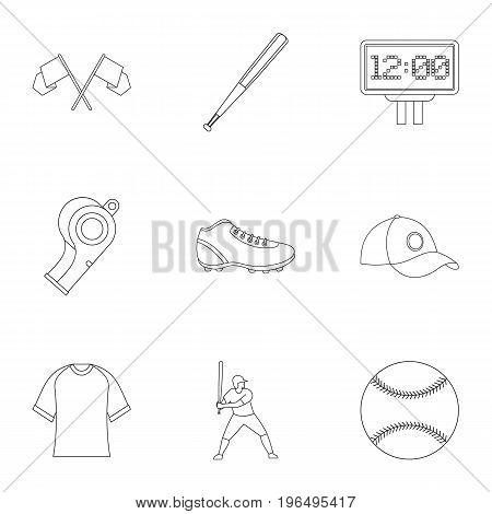 Baseball icons set. Outline set of 9 baseball vector icons for web isolated on white background