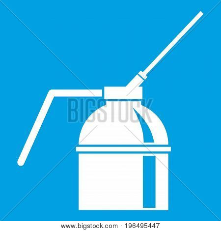 Can of spray paint icon white isolated on blue background vector illustration