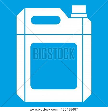 Plastic jerry can icon white isolated on blue background vector illustration