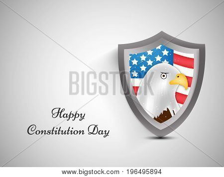 illustration of shield in USA Flag with Happy Constitution Day text on the occasion of USA Constitution Day