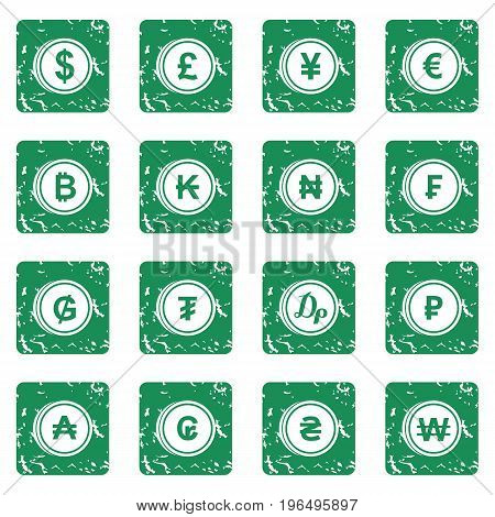 Currency from different countries icons set in grunge style green isolated vector illustration