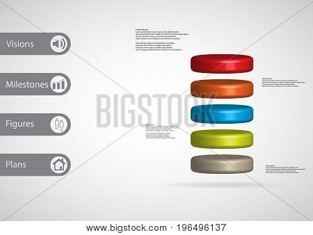 3D Illustration Infographic Template With Cylinder Horizontally Divided To Five Color Slices