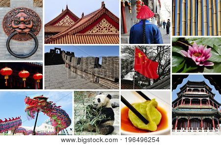 Chinese collage montage. Travel iconic photos of China