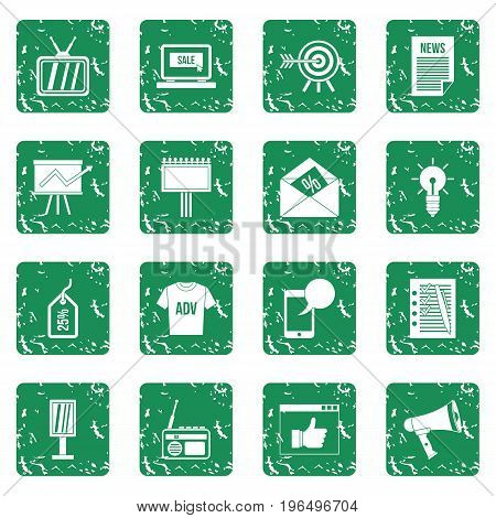 Advertisement icons set in grunge style green isolated vector illustration