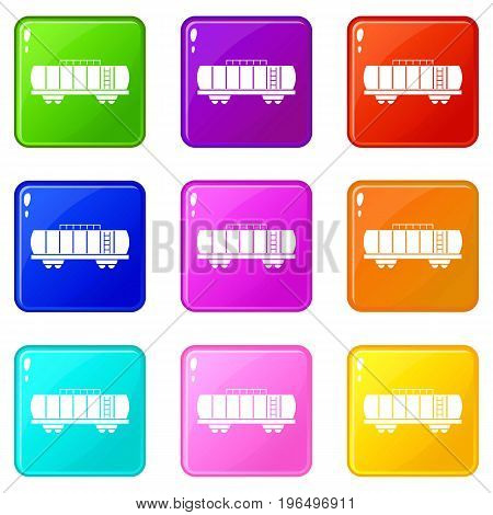 Oil railway tank icons of 9 color set isolated vector illustration