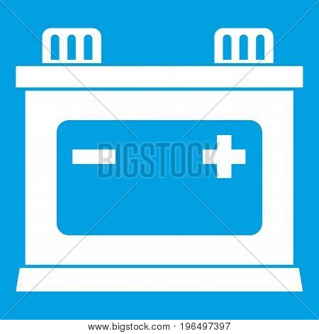 Car battery icon white isolated on blue background vector illustration