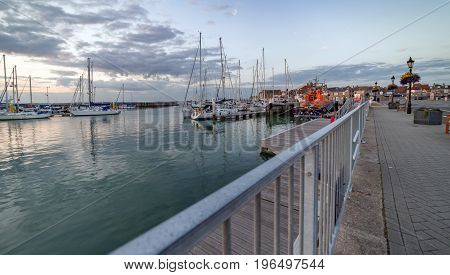 Yarmouth, Isle of Wight, UK. 12th July 2017. The Quay and harbour area of the historic town of Yarmouth on the Isle of WIght