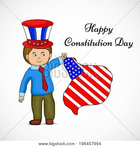 illustration of a boy wearing hat and holding USA Flag with Happy Constitution Day text on the occasion of USA Constitution Day