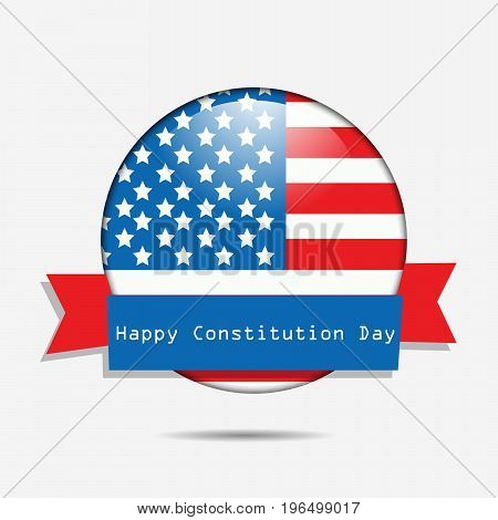 illustration of button in USA flag background with Happy Constitution Day text on the occasion of USA Constitution Day