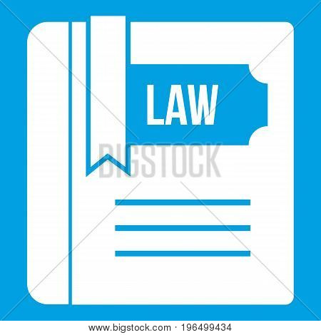 Law book icon white isolated on blue background vector illustration