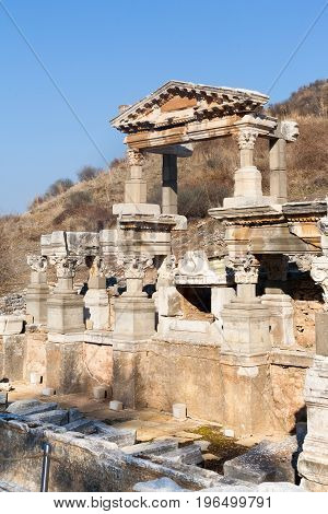 Rich People Roman Villa Ruins With Stone Columns Row In Ephesus Archaeological Site In Turkey