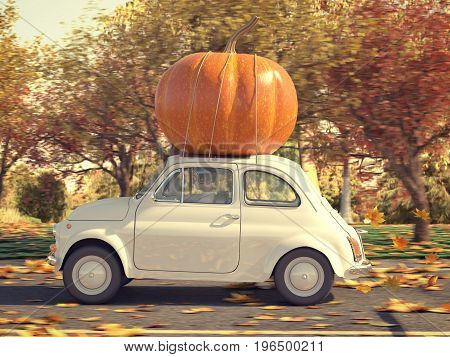 3d rendering. woman driving with big pumpkin on car roof.