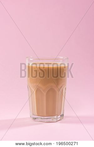 Coffee With Milk On A Pink Background.